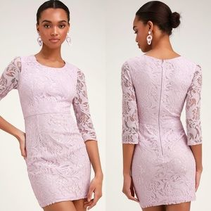 Lulu's All For You Lace Lavendar Bodycon Dress S